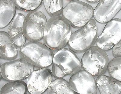 clear quartz gemstone tumbled