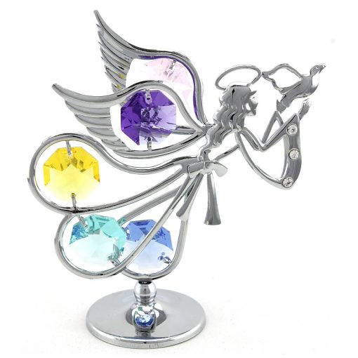 Crystocraft Flying Angel with Dove – Silver