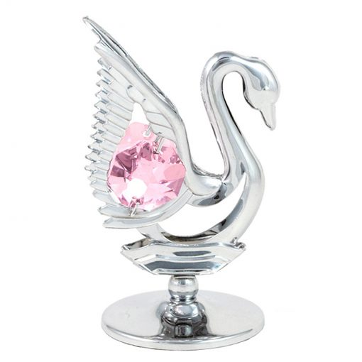 Crystocraft Mini Swan – Silver/Pink