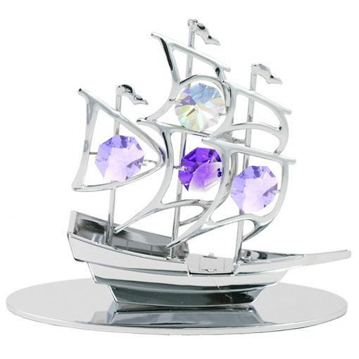 Crystocraft Sailboat – Silver
