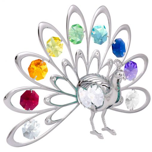 Crystocraft Fan-Out Peacock – Silver/Chakra