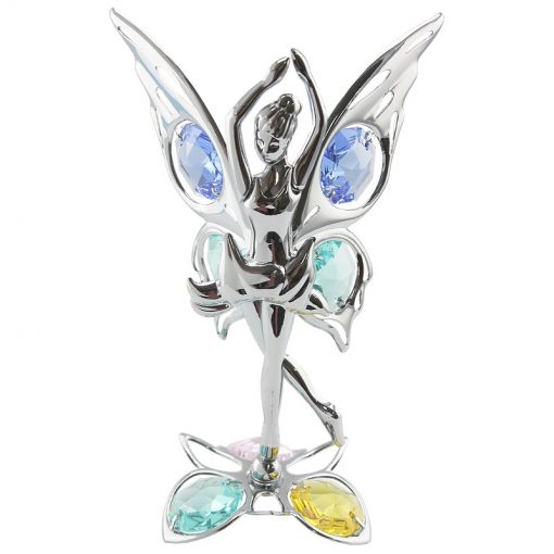 Crystocraft – Butterfly Fairy on Crystal Lotus Base – Silver
