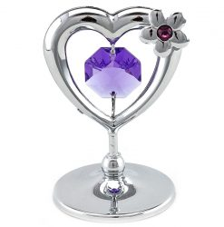 Crystocraft Mini Heart with Flower - Silver