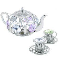 Crystocraft Tea Pot Set with Two Cups - Silver