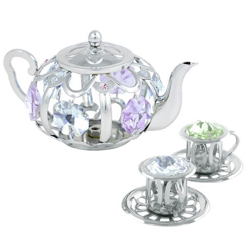 Crystocraft Tea Pot Set with Two Cups – Silver
