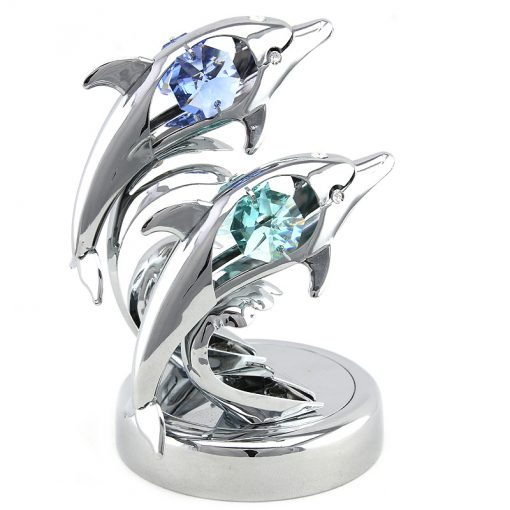 Crystocraft Twin Dolphins on Deluxe Base – Silver