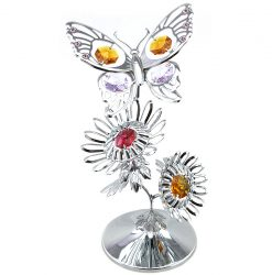 Crystocraft Tiger Butterfly on Sunflowers - Silver