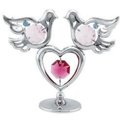 Crystocraft Mini Doves & Heart - Silver
