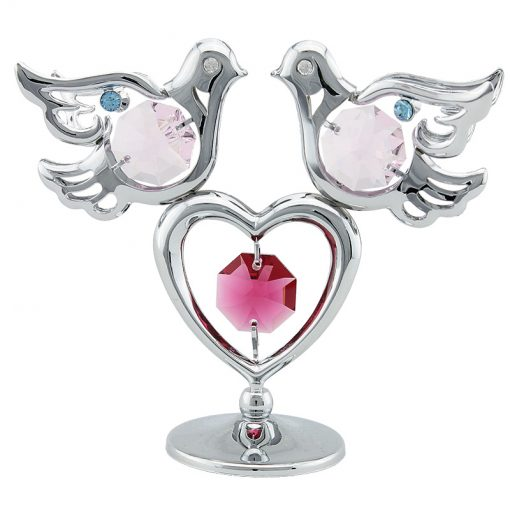 Crystocraft Mini Doves & Heart – Silver