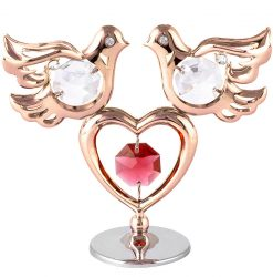 Crystocraft Mini Doves & Heart - Rose Gold