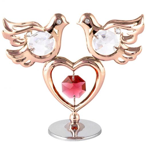Crystocraft Mini Doves & Heart – Rose Gold
