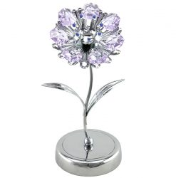 Crystocraft Sunflower on Deluxe Base - Silver/Violet