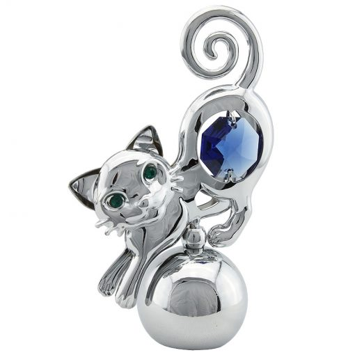 Crystocraft Cat Paper Weight – Silver