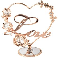Crystocraft Heart with Flowers - Love - Rose Gold