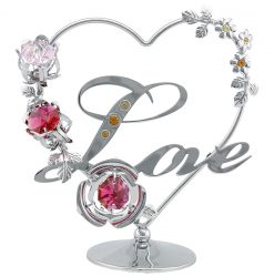 Crystocraft Heart with Flowers - Love - Silver