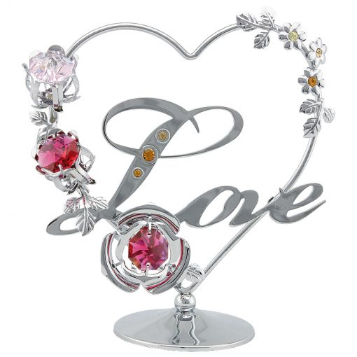 Crystocraft Heart with Flowers – Love – Silver
