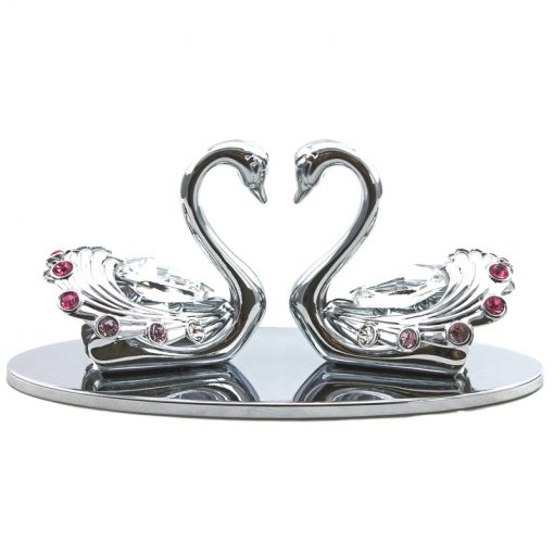 Crystocraft Swan Pair – Silver