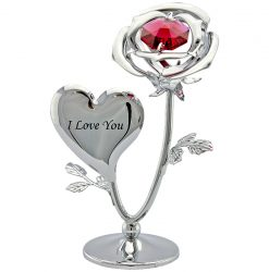 "Crystocraft Mini Rose ""I Love You"" - Silver"