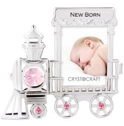 Crystocraft Photo Frame - Baby Train Engine - Pink