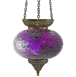 Large Hanging Mosaic T-Light - Purple