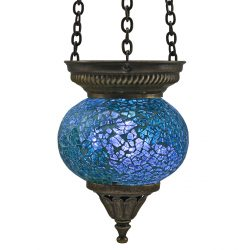 Small Hanging Mosaic T-Light - Ocean Blue