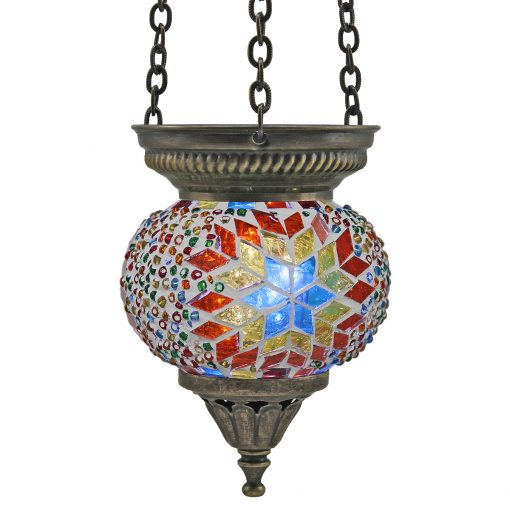 Small Hanging Mosaic T-Light – Beaded White/Rainbow