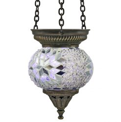 Small Hanging Mosaic T-Light - Beaded White/Silver